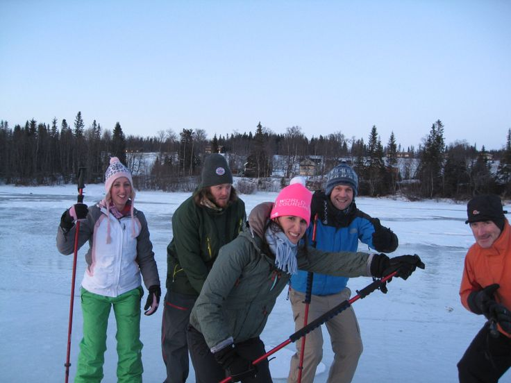The team get to grips with ice-skating on Lake Ånnsjön...with varying degrees of success.
