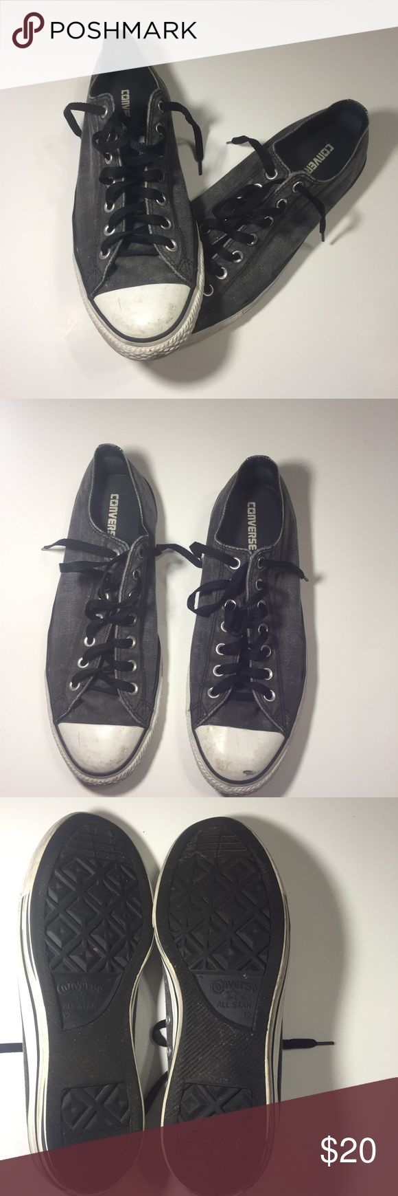 Men's converse Chuck Taylor All Star low top Men's converse Chuck Taylor All Star low top Chuck Taylor All Star low tops Gray Size 12 Retails for $55 No box Great condition Converse Shoes Sneakers