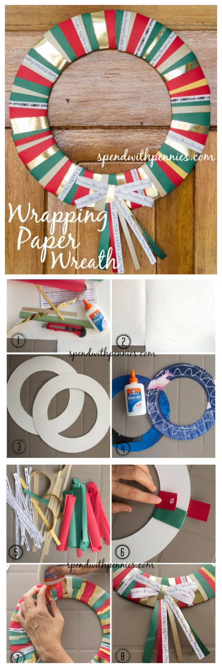 Make an easy Wrapping Paper Wreath!