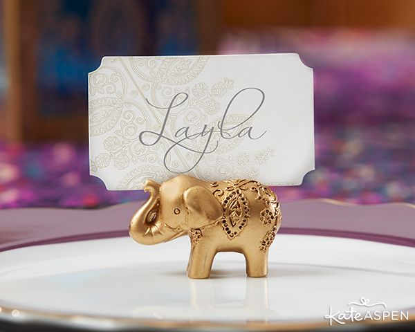 These cute gold elephant place card holders are lovely additions to a jewel tone, Indian, or South Asian wedding!