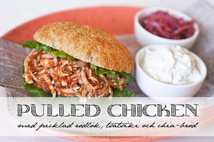 (snabb) Pulled chicken med chiabröd (+picklad rödlök & tsatsiki)