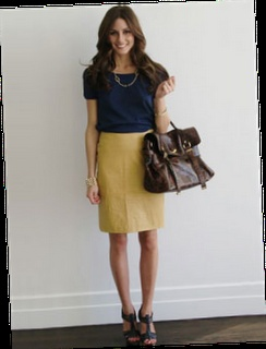 Mustard skirt paired with navy