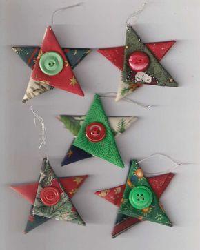 Star Christmas ornaments, fabric star, country cottage Christmas, Christmas…