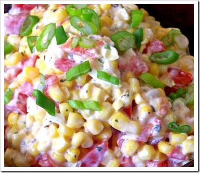 Creamy Ranch Corn Salad. Not at all hard to make and well worth making; delicious! Your guests will love this!