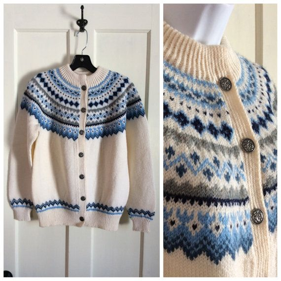 Vintage 1980's Dale of Norway Fair Isle Nordic Cardigan Sweater size 42 Medium