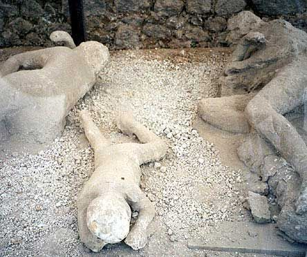 Pompeii dead. The ash fell around the bodies. The bodies decomposed leaving a cavity. The archaeologists filled these with plaster to reveal these all too tragic, human scenes.