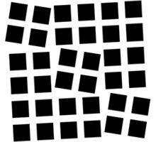 Proximity: The proximity and orientation of the individual squares causes them to be seen as four distinct groups, three small square groups in the foreground and one large square group in the background.