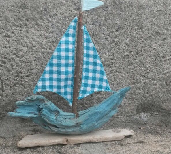 Blue and White Driftwood Sailboat,  Driftwood Boat, Wooden Sailboat, Rustic Sailboat, Greek Sailboat, Coastal Art, Blue Boat, Aqua Boat. by WillyaCollection on Etsy