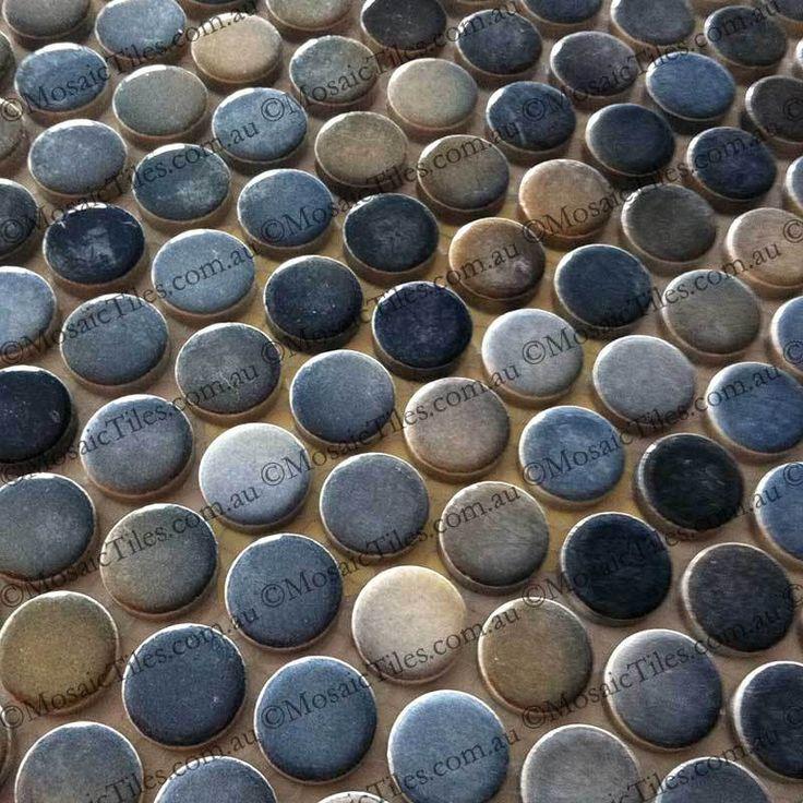 Blue Grey Shades Mixed Penny Round Mosaic Tiles
