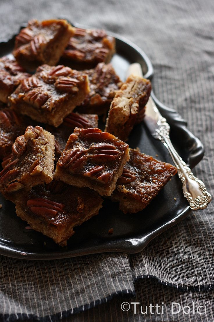 Pecan Pie Bars - easy pecan pie bars without corn syrup! Maple syrup and brown butter gives these bars wonderful flavor.