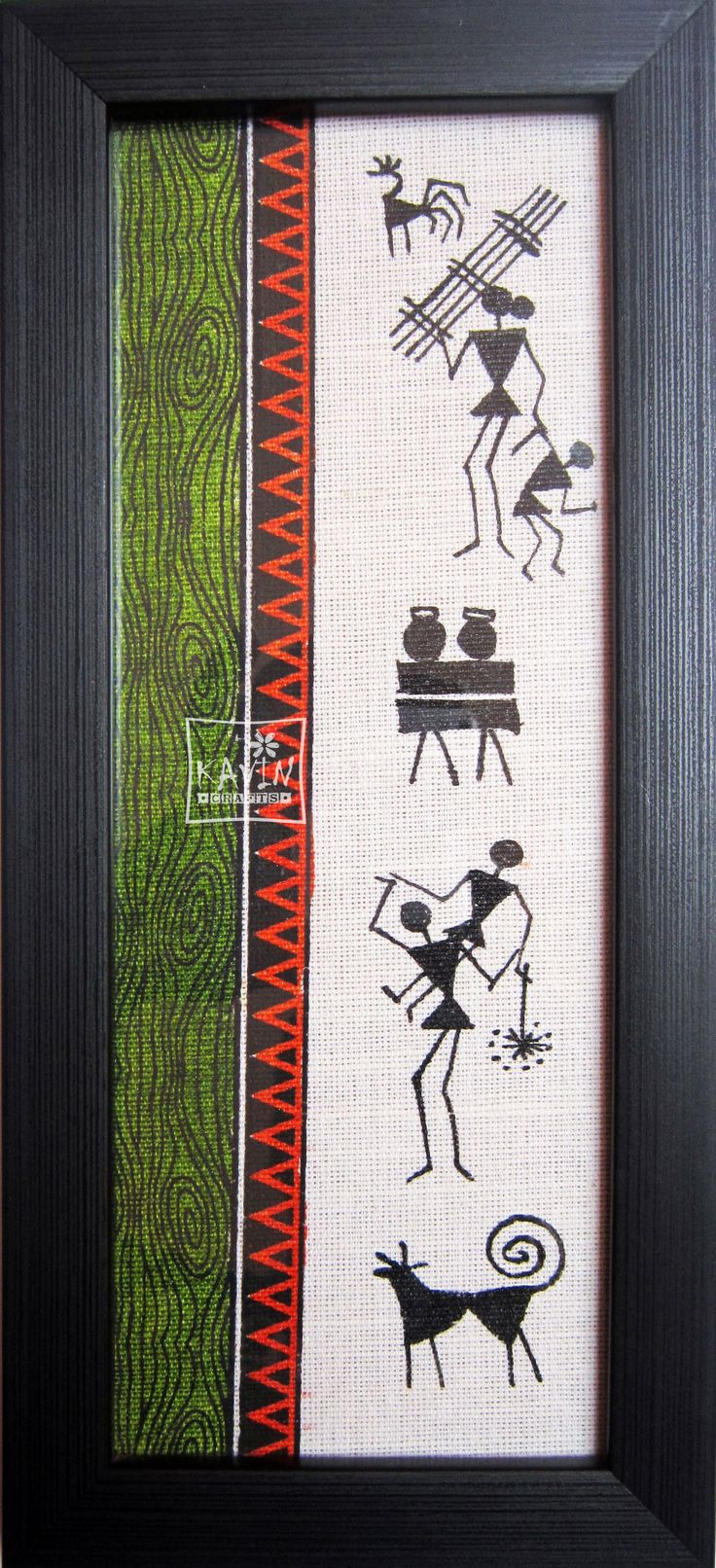 Creative artistic hand painted on jute fabric with wooden textured frame. The Tribal Art with traditional sketch with painting, another product from Kavin Crafts, Pondicherry - India