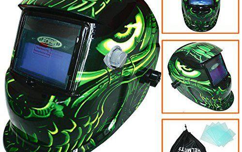 Leopard LEO-WH27 Solar Auto Darkening Grinding Welding Casque de soude Masque + Sac gratuit et 5 lentilles gratuites: Bandeau réglable:…