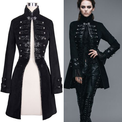Women Black Double Breasted Victorian Gothic Dress Trench Coat SKU-11401533