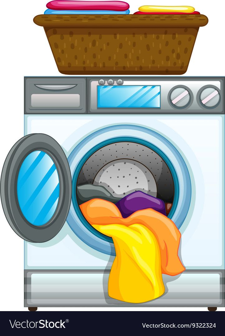 Clothes In Washing Machine Vector Image On Vectorstock Washing Machine Free Preview Clothes