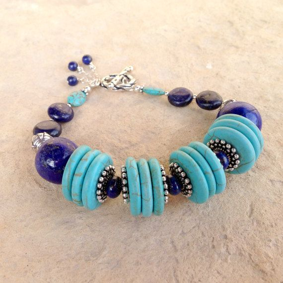 Can use beautiful buttons and hide the holes with spaces...followed by beads... :) Turquoise Bracelet Lapis Bracelet Navy Blue by jewelrybycarmal, $65.00