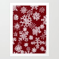 Snowflakes(red backgroud) Art Print