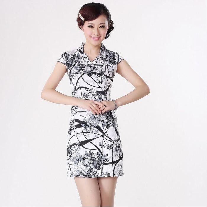 Fantastic Black and White Flowers Open Neck Cheongsam - Qipao - Cheongsam - Women