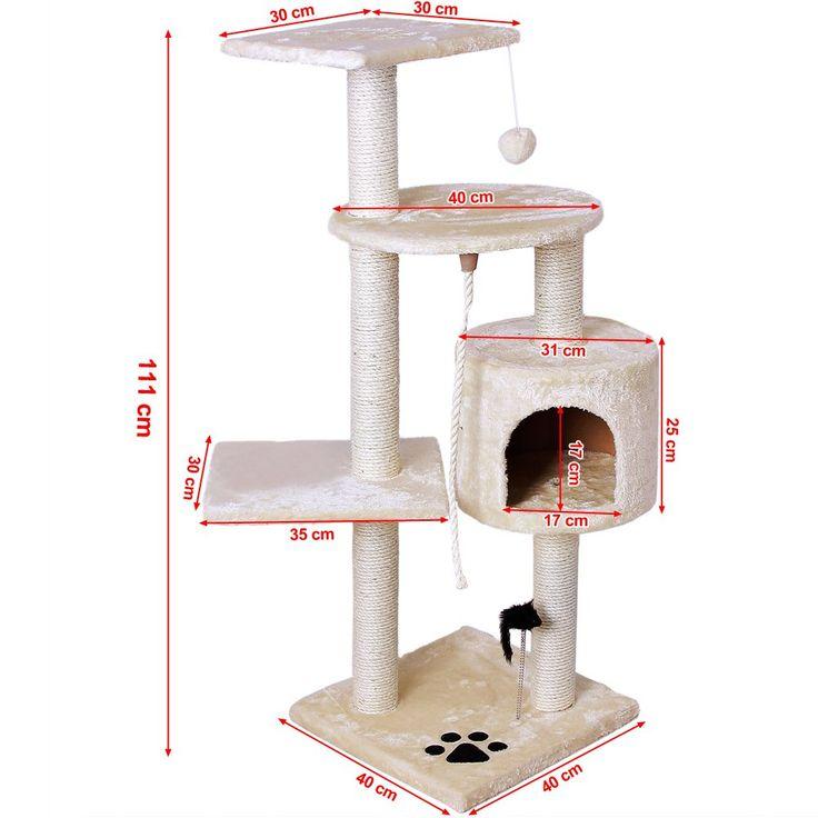 Songmics - Rascador para Gatos Árbol para Gatos Beige 111cm PCT08M