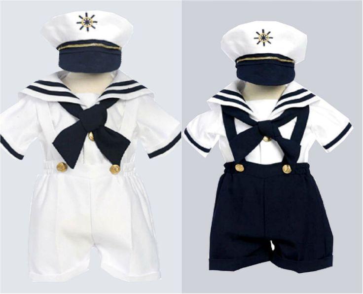 baby toddler boy white navy blue sailor suit set size 6m