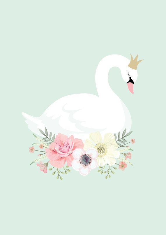 Mint Swan Princess Print by GingerMonkey0 on Etsy