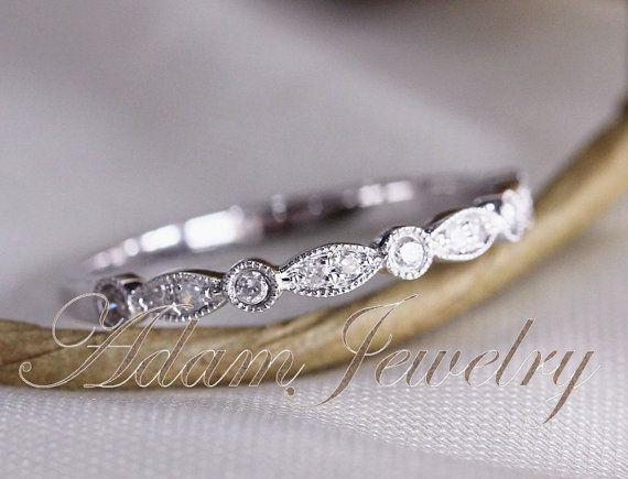 Art Deco Half Eternity  Diamonds Band 14k White Gold Wedding Ring/ Band Promise Ring/ Diamonds Ring/  Engagement Ring on Etsy, $240.00