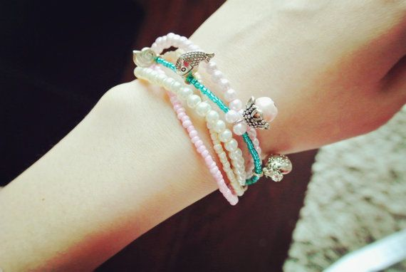 CUSTOM pink white blue beadwork bracelet, multi-colour pearls wrap bracelet, charm bracelet, bridal bracelet bridal accessories,