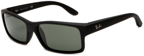 Ray-Ban Mens ORB4151 622 Rectangle Sunglasses,Black Rubber Frame/Crystal Green Lens,59 mm  $90.00