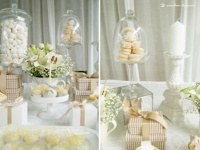 Details  for this white and gold glamour baptism party