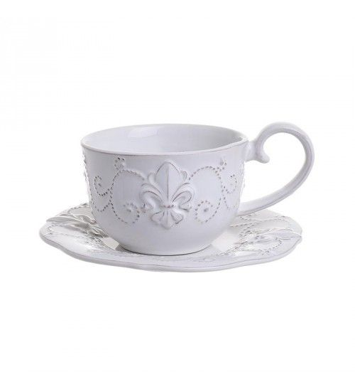 S_4 STONEWARE TEA CUP W_SAUCER IN CREME 15_5X15_5X7_5