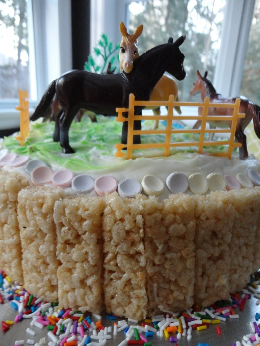 Girls Birthday Cake: Horses & Rice Krispies for bales of hay