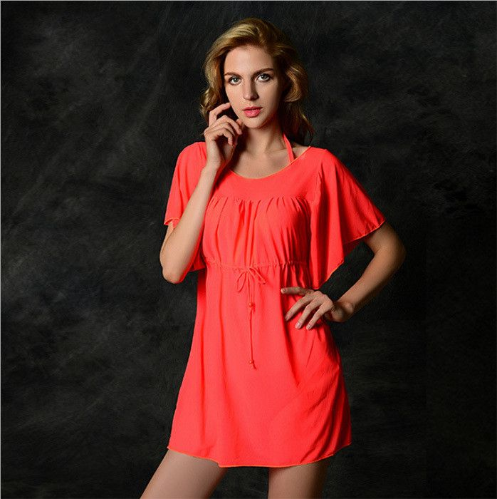 Popular Hot Neon Colored Sexy Drawstring Beach Coverup 13 Colors L-XL