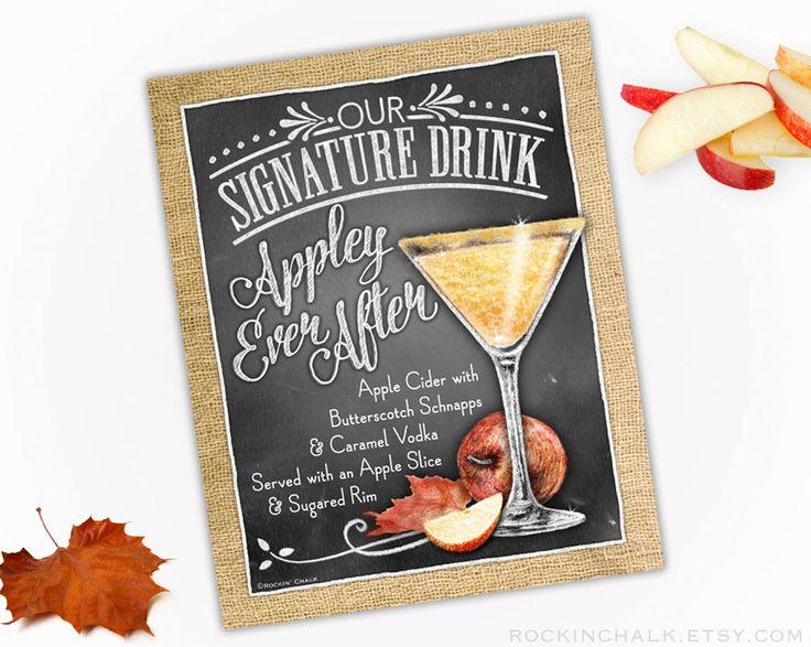 Otoño otoño decoración de la boda Signo de bebida por RockinChalk