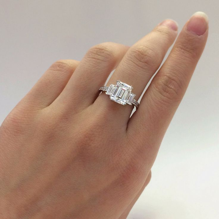3.36 Carats Total, Emerald Cut Diamond Simulant Engagement Ring, Baguette Cut//Anniversary, Promise Ring, Fine Sterling Silver //R33714 by Besbelle on Etsy https://www.etsy.com/listing/228696122/336-carats-total-emerald-cut-diamond
