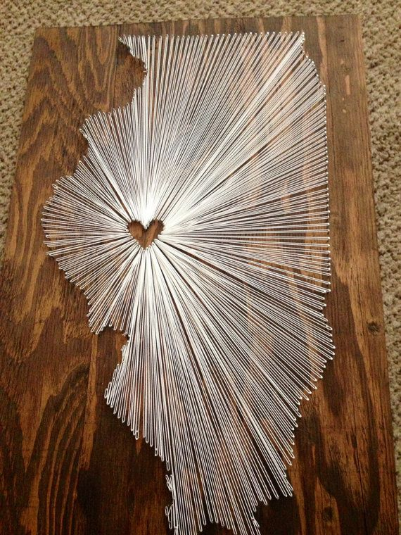 15x15 State String Art Illinois Wall Hanging Home von nidify