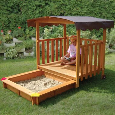 The Hidden Sandbox Playhouse.    Crazy expensive to buy, but a rolling deck is a good idea for a sandbox cover.