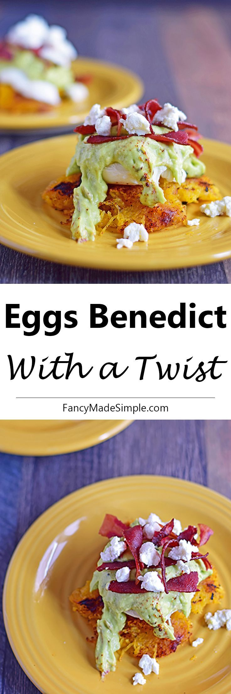 This delicious twist on eggs benedict has avocado hollandaise sauce and spaghetti squash.  Healthy breakfast recipe.