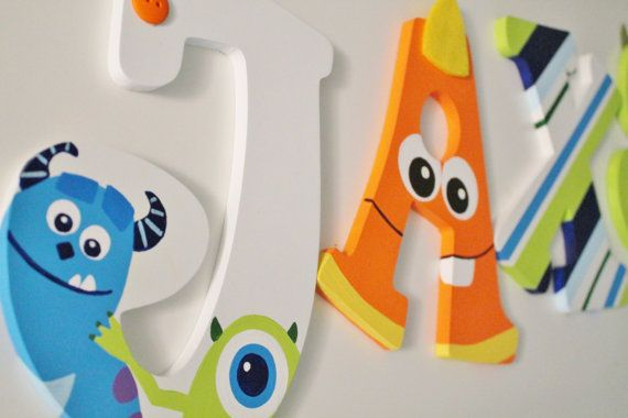 What better way to display your childs name than these adorable hand painted wooden letters? This item can be personalized to fit your design