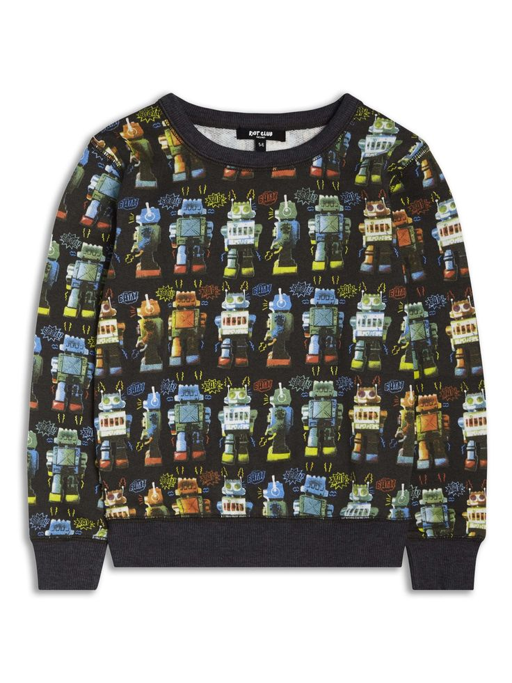 Boys Boutique Black Cool Noisy Robot Sweatshirt - Baby Boutique Shop #boys_fashion_ideas