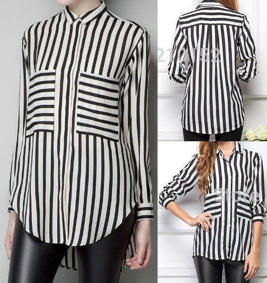 Patrón de una fina y linda camisa para mujer. Tallas desde la 36 hasta la 56.