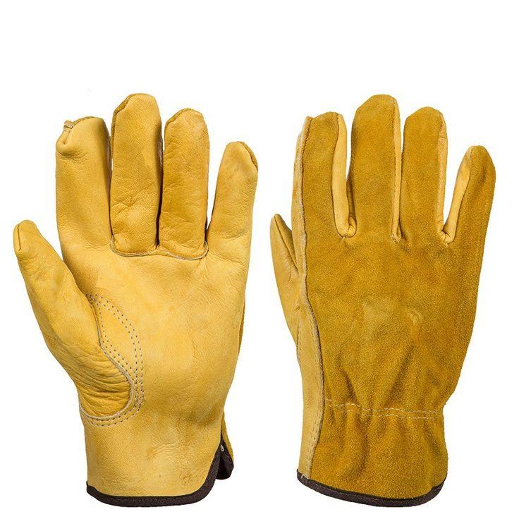 1Pair кожаные перчатки Рабочая Защитные перчатки безопасности труда сада перчатки Носите инструменты безопасности