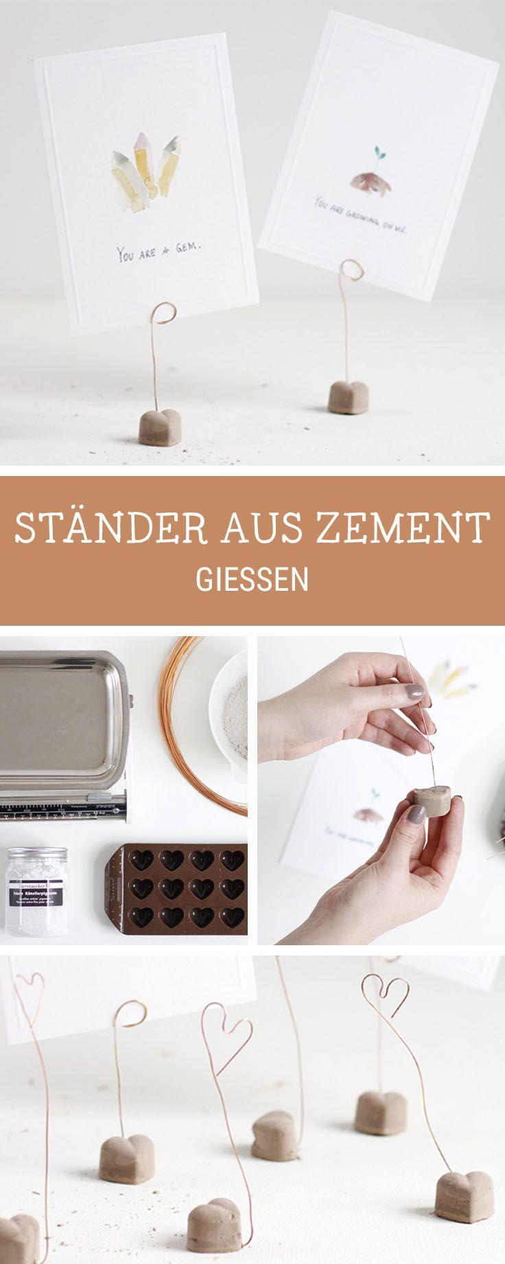 Geschenke selbermachen: Süße Halterungen für Fotos aus Beton selbermachen / diy tutorial: how to craft photo clips with concrete via DaWanda.com