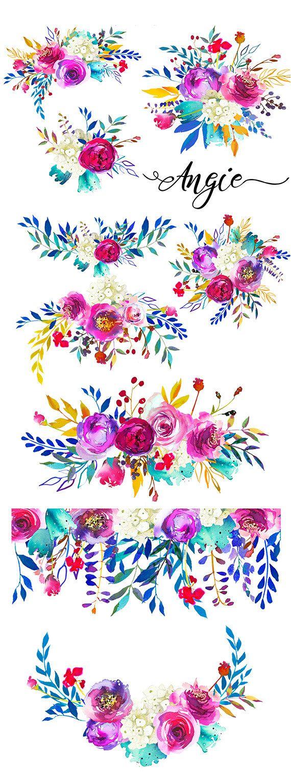 PInk Purple Watercolor Flowers Digital Clipart PNG Peonies
