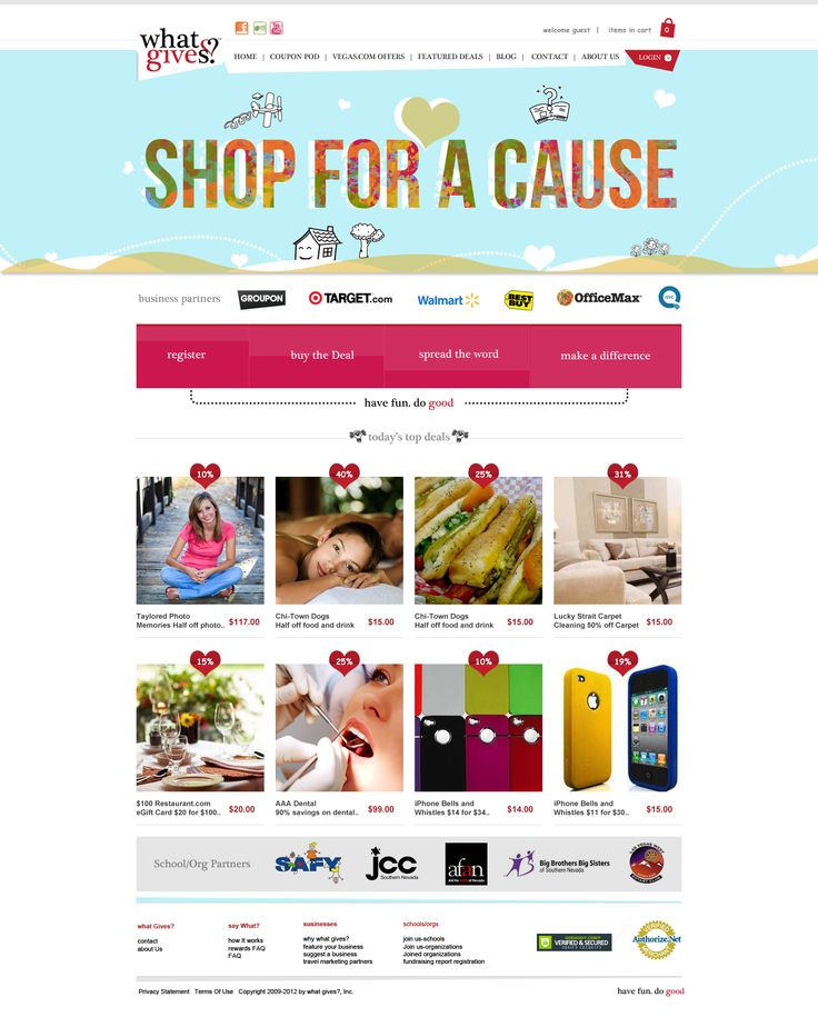 Shop for cause landing page