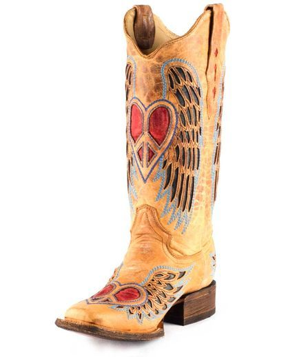 Women's Distressed Winged Heart Square Toe Boots - A1990