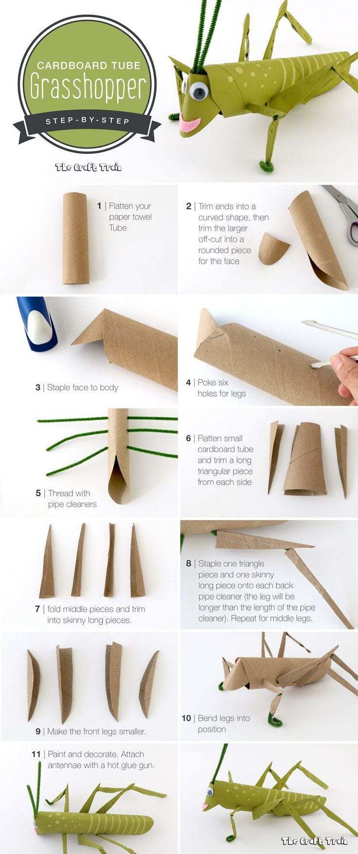 Step-by-step instructions on how to make a cardboard tube grasshopper. This is a fun craft for kids using recyclables.