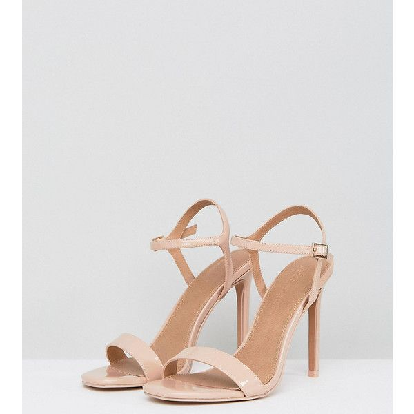 ASOS HANDS DOWN Barely There Heeled Sandals (548.655 IDR) ❤ liked on Polyvore featuring shoes, sandals, beige, high heeled footwear, ankle strap shoes, beige heeled sandals, ankle strap sandals and ankle strap high heel sandals