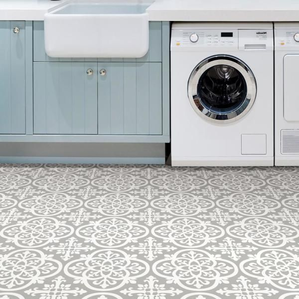 Floorpops 6 In X 6 In Grey Medina Peel And Stick Vinyl Tiles Sample Covers 0 25 Sq Ft Fp2942sam The Home Depot Peel And Stick Floor Laundry Room Tile Adhesive Floor Tiles