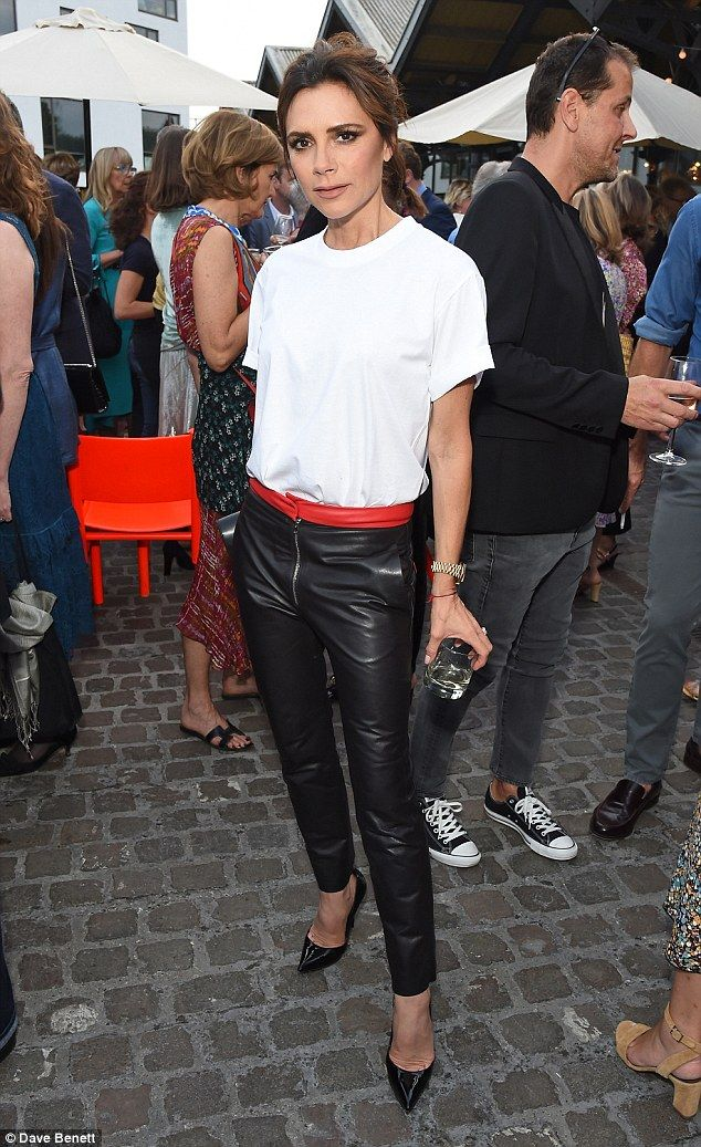 She's in fashion! Victoria Beckham, 43, ignored the scorching temperatures to rock a pair of tight leather trousers for British Vogue editor Alexandra Shulman's leaving party on June 22, 2017