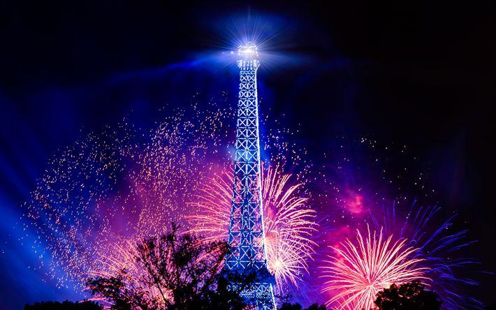 Descargar fondos de pantalla La Torre Eiffel, el 4k, saludo, fuegos artificiales, Francia, París