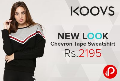 Koovs is offering #NEWLOOK Chevron Tape #sweatshirt Just Rs.2195. Cold nights, cosy nights and hot chocolate – there's no better way to feel more awesome than this threesome. Made from soft fabric, this NEW LOOK sweatshirt comes with a colourful chevron tape design. Throw it over with a pair of high waist leggings and double sole skater shoes for a sporty-chic off-duty look.   http://www.paisebachaoindia.com/new-look-chevron-tape-sweatshirt-just-rs-2195-koovs/